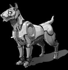 Estel, the mechanical dog. Guard dog robot by *BaranyaTamas on deviantART: Character Concept, Character Art, Character Design, Cyberpunk, Animal Robot, Cyber Dog, Futuristic Robot, Arte Robot, Steampunk