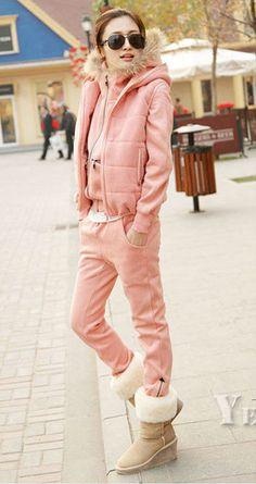 Winter Fashion Thicken Three Pieces Warm Tracksuit