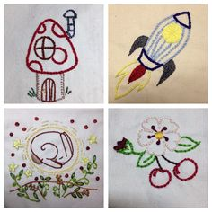 Recent stitching by me, designs from Doodle Stitching transfers by Aimee Ray