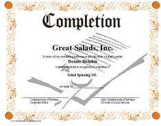 A printable certificate of completion bordered in an orange floral pattern. A sheet of paper with a ribbon seal on it is in the background. Free to download and print