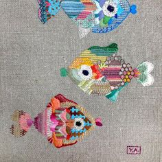 fishes, by yolanda andres embroidery