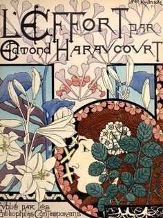 """Art Nouveau (-stijl) Vrouw *Lady ~""""L'Effort'""""van Edmond Haraucourt, geïllustreerd door Léon Rudnicki, 1894~"""