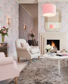 Beatrice Cyclamen Floral Wallpaper | Laura Ashley | Silver Serenity Collection