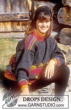 "DROPS 31-18 - DROPS sweater with fall pattern in ""Alaska""."