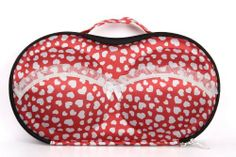 Red Lovely Bra Bag for Travel Made of Environmental Protection Eva by Bra travel bag. $21.00. bra bags for travel. 3-5 bras Can be loaded. about 0.6 pounds. bra travel bag. Red bra bag ornament with heart reveal women's gentle . Excellent guality and zip design protect bra in a good way . Capable for 3-5 bra fron A cup to D cup and 4-6 underwear . Good gift for your friends and yourself .  The top is hard and the bottom is hard but then it just zips around .Own...