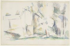 """House Among Trees  Paul Cézanne (French, 1839–1906)    (c. 1900). Watercolor and pencil on paper, 11 x 17 1/8"""" (27.9 x 43.5 cm). Lillie P. Bliss Collection  15.1934"""