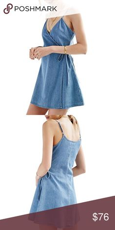Denim Cami V Neck Wrap Style Mini Dress Cute, casual denim mini dress.   ❌ Sorry, no trades.   a line a-line  fairlygirly fairlygirly Dresses Mini