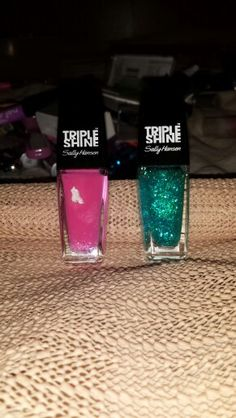 Sally Hansen, Triple Shine; Pink Coconut   Sally Hansen, Triple Shine; Hypnautical  Sally Hansen, tri