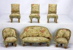 Antique-German-Miniature-Doll-House-Furniture-Set-ca1900