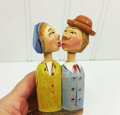 Carved Wood Kissing Couple Decorative Cork Anri by naturegirl22