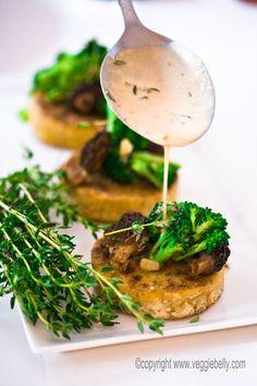 Crispy Polenta with Morel Mushrooms and Broccoli.Vegan and Gluten-Free Mushroom Recipes, Veggie Recipes, Gourmet Recipes, Vegetarian Recipes, Cooking Recipes, Healthy Recipes, Crispy Polenta, Spring Recipes, Healthy Cooking