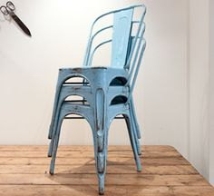 blue....french original tolix chairs