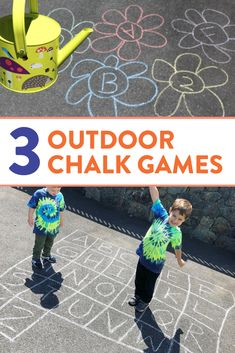I love these outdoor games for preschool, kindergarten, and first grade students! Head over to the post to see 3 different chalk games to practice number, letter, and sight word identification!