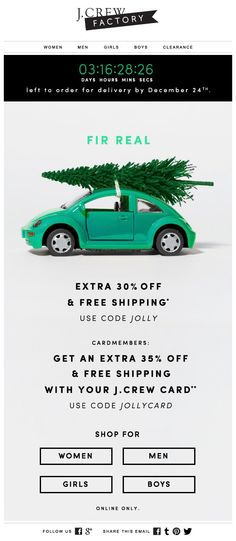 J.CREW: Holiday shipping email