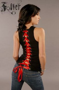 Folter's Red Sleeveless Corset with Black Ribbon Lace (Small)