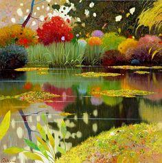 Pedro Roldan Molina – Spanish artist, born in 1954 in Rute, Cordoba, Andalucia. Landscape Art, Landscape Paintings, Gravure Photo, Monet Garden Giverny, Posca Art, Spanish Artists, Garden Art, Painting & Drawing, Amazing Art