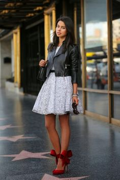 Fabulous Street Style - cotton dress, great heels and a leather jacket.
