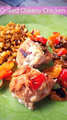 Grilled Cheesy Chicken    2 Boneless chicken breast  4 Tbsp Fat Free Cream Cheese  1 Tsp Garlic Powder  1 Tsp Lemon Seasoning  3 Tbsp Hawaiian Marinade  1/2 Cup Red and Yellow Bell Pepper  3 Chopped Jalapeno Peppers