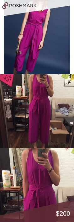 Midi Wide-leg Anthropologie Jumper!!! Beautiful violet jumper from Anthropologie. Wide midi-length fit. Tie-front (also works to tie in back) Size is medium and pretty true to fit (could make it work for slightly smaller size with the tie!) Color is AMAZING. Light weigh fabric. Anthropologie Pants Jumpsuits & Rompers