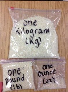 Use rice in Ziplock bags to compare ounces, pounds, kilograms and more... Read more at http://teachr.co/1DnSwIM