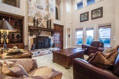 Lovely stone fireplace