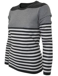 Cielo Women's Round Neck Striped Pullover Gray SW370