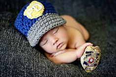Police Hat  in Blue Gray Yellow and White by mamamegsyarnshoppe, $22.00