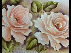 Como pintar rosas champagne - Pintura em tecido