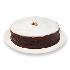 BEM CASADO DE CHOCOLATE COM AVELÃ - Base de brownie, três camadas de mousse de chocolate, meio amargo, ao leite e branco, coberta com calda de chocolate.