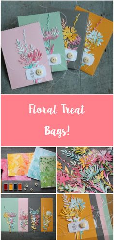 We think these handmade floral treat bags are super sweet! 😂 Feature your make using Paper Cards, Diy Cards, Treat Bags, Gift Bags, Embossed Cards, Card Making Techniques, Mothers Day Cards, Watercolor Cards, Flower Cards