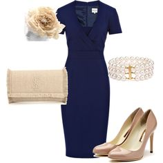 Navy Reiss dress with nude accessories. Very Kate Middleton