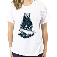 2017 New Summer Fashion Design Bear And Fish T-Shirts Women Funny White T shirt Casual Cotton Shirts Tops Tees S933