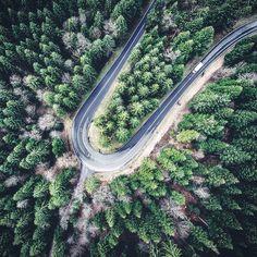 Green U-turn  #road #aerial #green #drone #forest #curve #aerialphotography #wald #luftaufnahme #strasse #schweiz #switzerland #