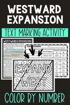 This Westward Expansion Color by Number and Text Marking activity is the perfect way to bring life to the topic! Students read a non-fiction passage and search for answers while marking evidence from the text. Perfect reading comprehension activity. #WestwardExpansion #USHistory #HomeSchool #Digital #4thgrade #5thgrade #6thgrade #Interactive #MiddleSchool #UpperElementary Middle School History, Middle School Reading, 5th Grade Reading, Student Reading, Reading Comprehension Activities, Reading Passages, Upper Elementary Resources, 4th Grade Social Studies, Westward Expansion