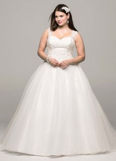David's Bridal Woman NEW! - Tulle Ball Gown with Illusion Back Detail Style 9WG3671