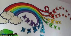Rainbows and butterflies inspo School Decoration Ideas for Spring Season Spring Crafts For Kids, Kids Crafts, Diy And Crafts, Paper Crafts, School Wall Decoration, School Decorations, Vinyl Decor, Vinyl Wall Decals, Room Wall Painting