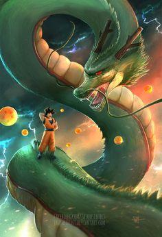 Goku & Shenron, Dragon Ball Z - - anime Dragon Ball Gt, Dragon Art, Goku Super, Super Saiyan, Photo Dragon, Manga Dbz, Sheng Long, Super Anime, Fanart