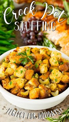 This crock pot stuffing is a mix of bread cubes, sauteed vegetables and seasonings, all placed in the slow cooker to create a flavorful and delicious side dish. Sauteed Vegetables, Veggies, Thanksgiving Recipes, Holiday Recipes, Large Crock Pot, Slow Cooker Creamed Corn, Turkey Broth, Glazed Carrots, Pulled Pork Recipes