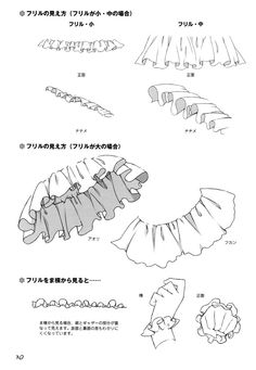 Tutorial on how to draw frills Drawing Techniques, Drawing Tips, Drawing Sketches, Art Drawings, Fashion Design Drawings, Fashion Sketches, Art Reference Poses, Drawing Reference, How To Draw Skirt