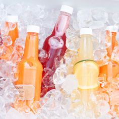 """Fill these clear plastic bottles with juice, lemonade, or fancy soda to make your party table even prettier! Sold individually 10 oz. bottle 8"""" tall with white"""