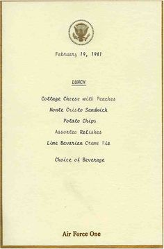 Air Force One lunch menu.