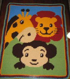 Monkey, Giraffe, Lion Afghan Pattern Graph