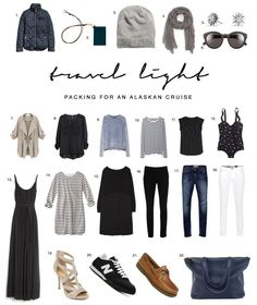 travel-light-alaskan-cruise-what-to-pack Not that I'm going on one but its always good to know what to pack for a cooler vaca Capsule Wardrobe, Travel Wardrobe, Travel Outfits, Travel Fashion, Travel Style, Style Casual, My Style, Cruise Wear, Cruise Travel