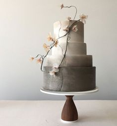 Modern Masterpieces ~ Jasmine Rae Wedding Cakes ~ neutral ombré wedding cake with rice paper flowers