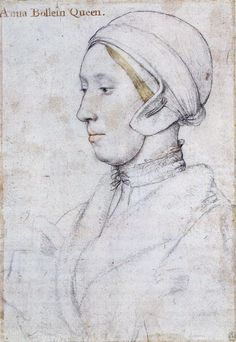 Queen Anne Boleyn by Hans Holbein. The majority of Holbein's sketches were inscribed later in the 16th Century so some of the identifications may be wrong ... for instance this sitter clearly has blonde hair, which Anne Boleyn definitely didn't.
