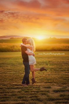 Portland Engagement Photos | Kissing in a wheat field at sunset with cute summer dress
