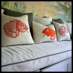 Custom Embroidered Fish Motif Pillows for a client.