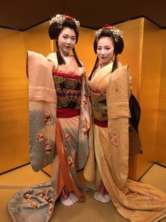Why do these Maiko have the long hair at the sides? I've not seen that before!  お茶屋ブログ ~宮川町のお茶屋「しげ森」舞妓歳事記~:お化け