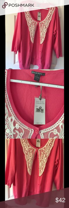 NWT Women's 2X cardigan pink Very nice button up sweater with lace trim Size 2X  Isabelle Rodrigues $74 retail Sweaters Cardigans