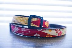 "CherryBlossoms Japanese Fabric Vintage red blue-green flower floral Dog collar (Available in two colors) -dog gift-puppy gift- 3/4"" webbing"